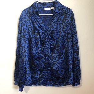 Worthington | Blue & Black Damask Dress Blouse